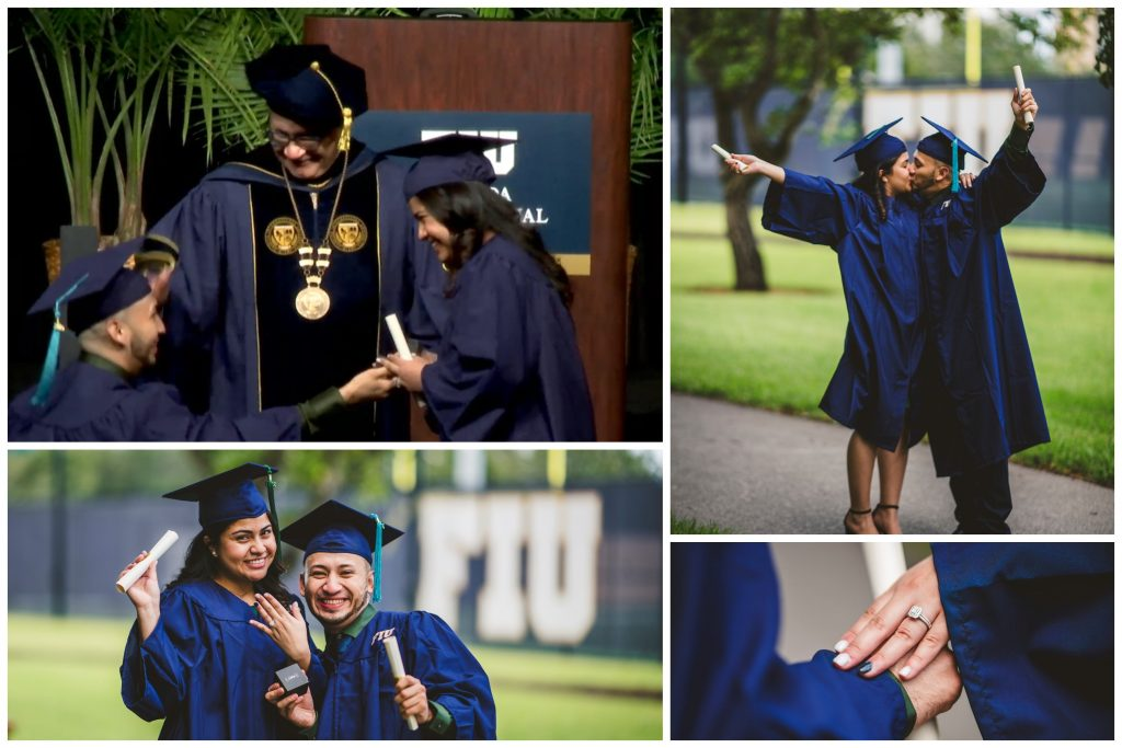 Jacqueline Mendoza and Christopher Ubedo getting engaged on stage during the commencement ceremony; celebrating their engagement at FIU; showing the engagement ring.